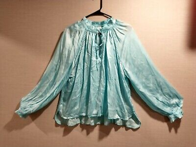 Zadig & Voltaire Theresa Blouse Beaded Embellished Blue Green Top Sz M