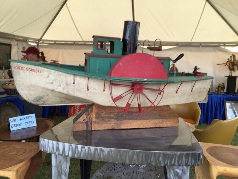 ANTIQUE1920 MODEL SHIP MECHANICAL TOY PADDLE POND BOAT MARITIME FOLK ART