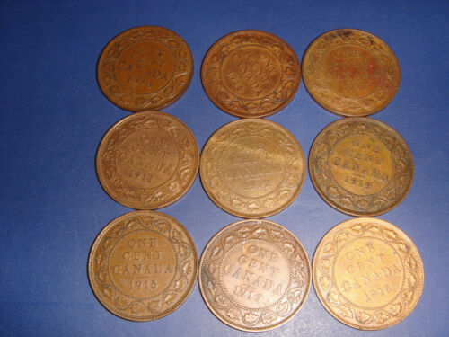 """""""Lot of 9"""" Canada Large Cents 1911 1912 1913 1915 1916 1917 1918  1919 1920"""