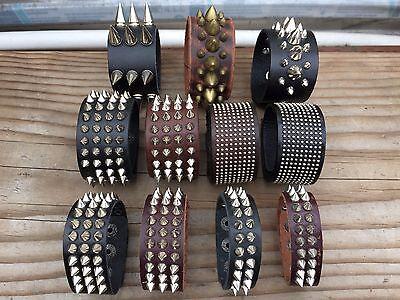 Metal Cone Stud Rivet Spike Punk Leather Bangle Cuff Bracelet - Spiked Bracelet