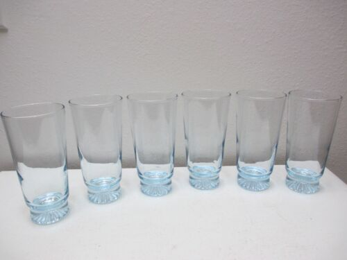"Libbey Glass Tumblers or Highball Glasses Set of 6 Light Blue 5 3/4"" Tall 8 oz"