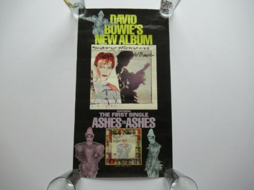 VINTAGE 1980 DAVID BOWIE SCARY MONSTERS PROMO 27x15 RECORD STORE POSTER