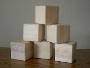 Handmade Unfinished Wood Blocks, Set of 6 Large Size Cubes, Finish Ready