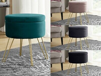 Modern Round Velvet Storage Ottoman with Gold Metal Legs & Tray Top Coffee Table