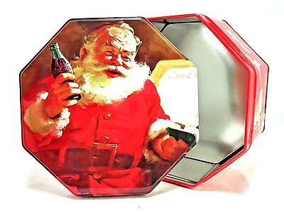 Coca-Cola Winter Holiday Christmas Santa Claus Metal Tin Octagon Container EUC