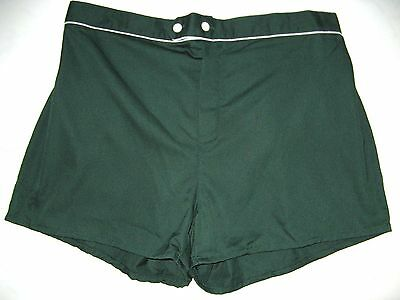MENS VINTAGE 1970's SWIM SUIT GREEN WITH WHITE PIPING size 36-40