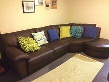Brown Leather Corner Sofa & Footstool Brunswick Moreland Area Preview