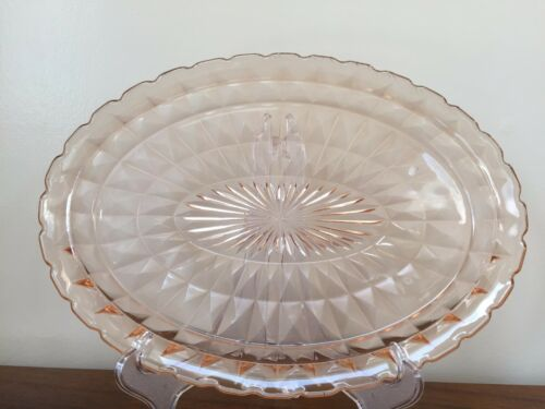 "Jeannette WINDSOR DIAMOND PINK 11"" Oval Platter Depression Glass"