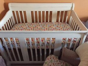 STONY PLAIN: Crib, coil mattress, bumpers, change table