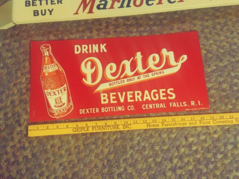 NOS Vtg Original Drink Dexter Beverages Soda Cola Embossed Tin SIGN 1950S-60S NM