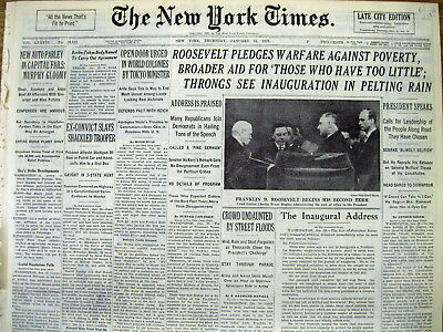 BEST 1937 NY Times newspaper FRANKLIN D ROOSEVELT 2nd INAUGURATION as