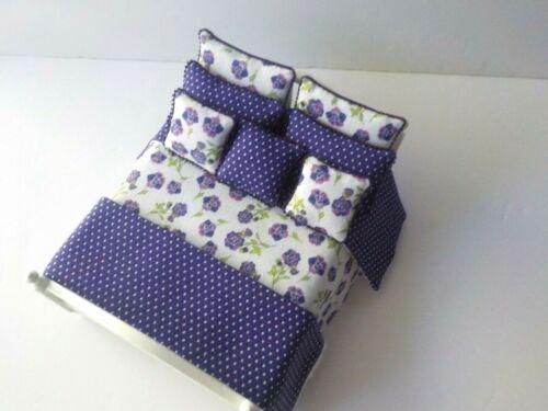 Miniature Dollhouse Handmade 9 Piece Bedspread Comforter Blanket & 7 Pillows