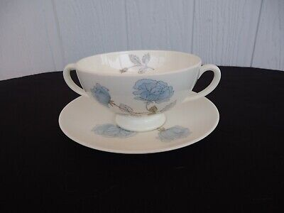 wedgwood ice rose  cereal bowl  blue rose soup coupe & under plate Coupe Cereal Bowl