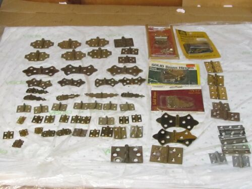 "60 +  Assorted Vintage/ NOS  Brass Cabinet  Hinges  "" a few metal"""