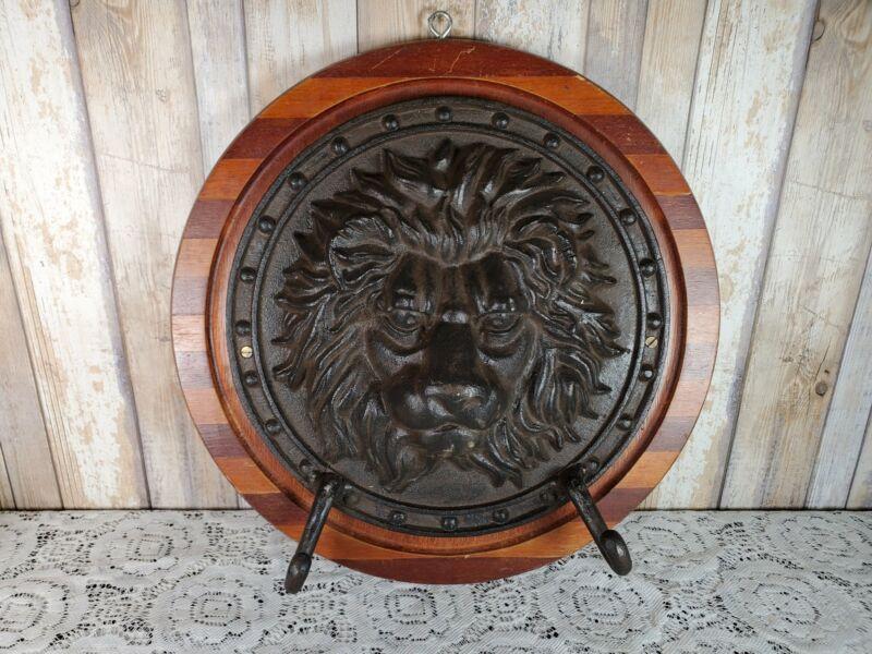 Large Antique Cast Iron Lion Head Figural Architectural Plaque with Hooks