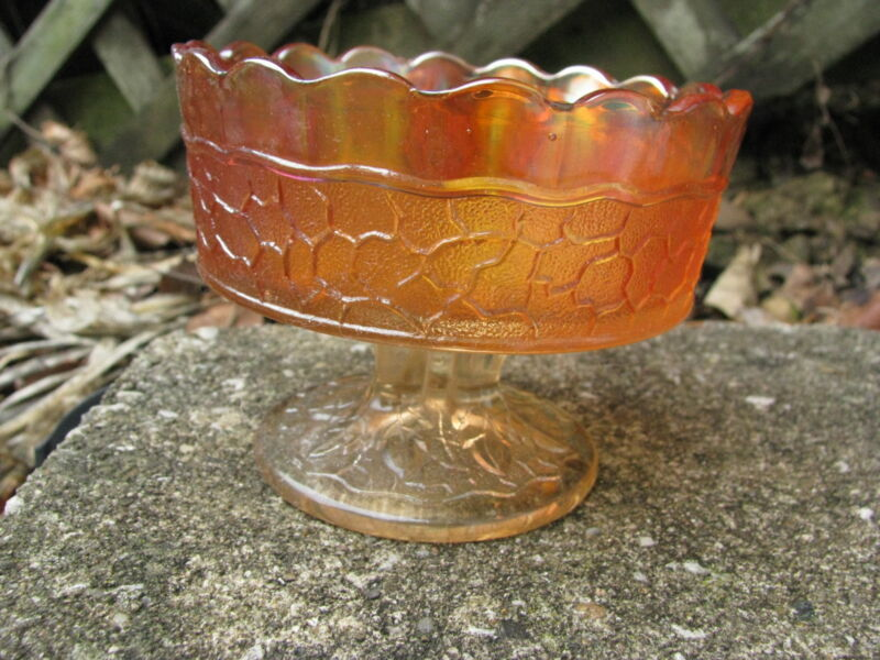 MARIGOLD CARNIVAL GLASS FOOTED BERRY DESSERT BOWL CRACKLE PATTERN