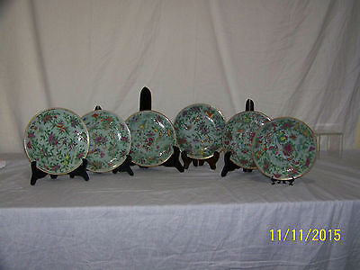 Antique Chinese Tongzhi Nian Zhi Da Qing Fencai Celadon Porcelain Plates Set/6