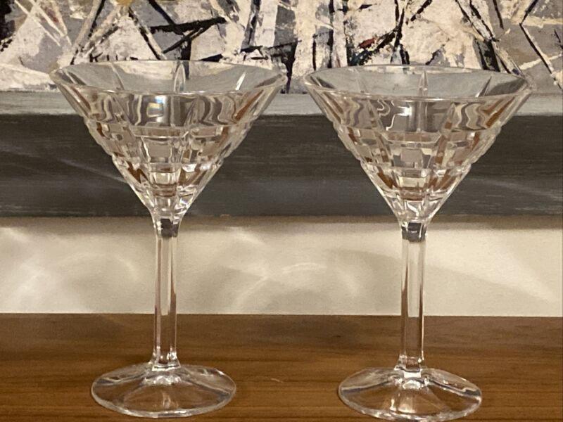 Set of 2 Marquis By Waterford Martini Glasses Quadrata Pattern Frosted Squares