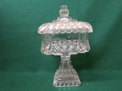 """Antique Crystal 10"""" Wedding Covered Compote"""