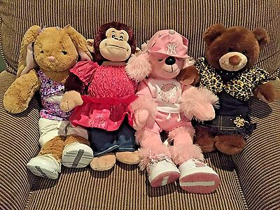 Lot of 4 Build-a-Bears w/ Outfits (Bunny, Monkey, Poodle, Bear) 18