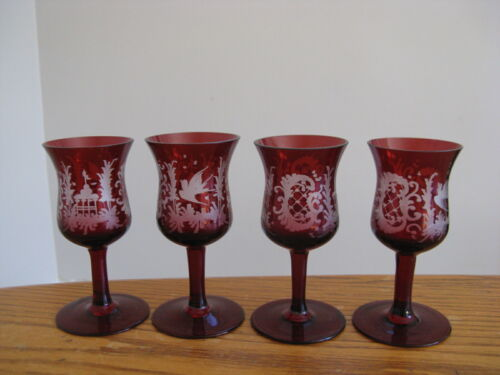 Set of 4 Bohemian Egermann Ruby Red Crystal Glass Cordials Etched Bird & Cage