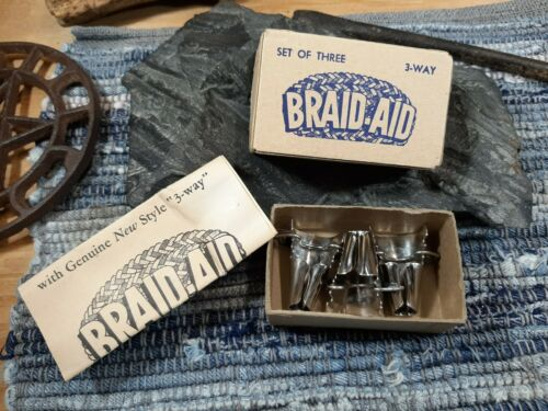 Braid-Aid 3 Way Tool Set of Three w/Box Instructions For Braided Rugs USA