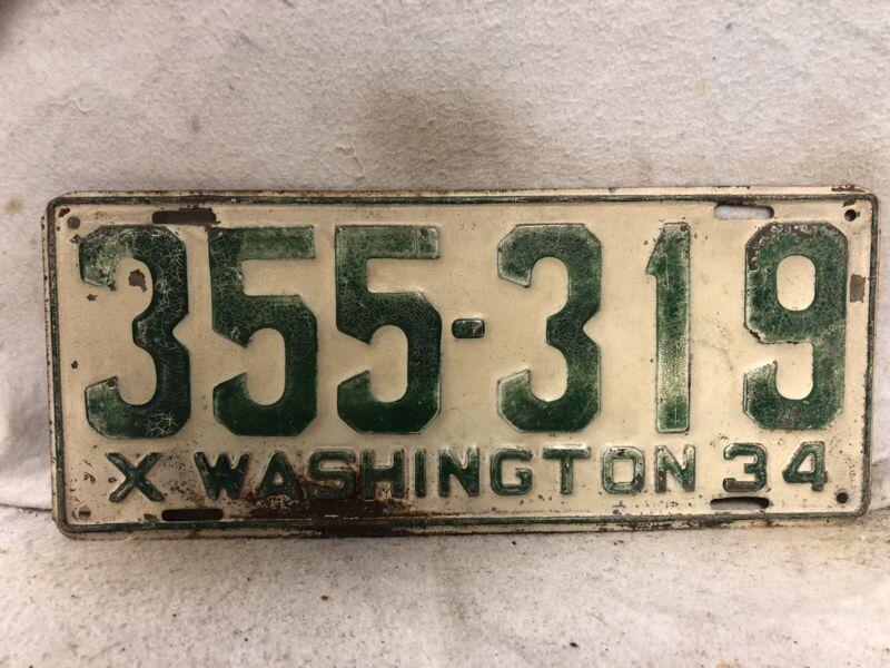 Vintage 1934 Washington License Plate