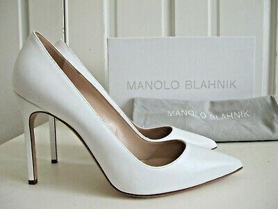NIB 665 Manolo Blahnik BB 105 Pumps Shoes Heels White Calf Leather sz 395 US 9