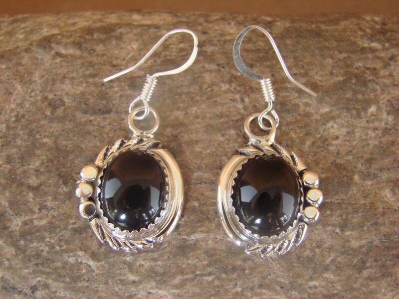 Native American Sterling Silver Onyx Dangle Earrings by Delores Cadman