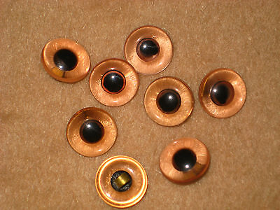 4 sets of Vintage 9/16 inch  Coral Glass Eyes for Teddy Bear and Animals