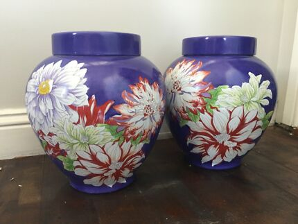 Pretty Pair Takada Ginger Jars in Perfect Condition