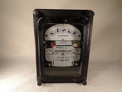 General Electric Vintage Steam Punk 3 Phase Kilowatthours Meter Antique Gauge