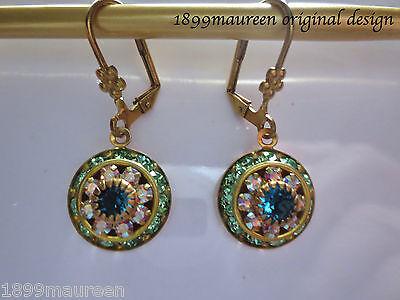 Edwardian vintage style earrings peridot crystal green drop Art Nouveau Art Deco