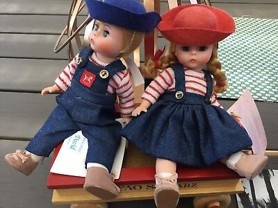 "New Madame Alexander Diana And David 8"" Dolls W// Wooden Wagon"