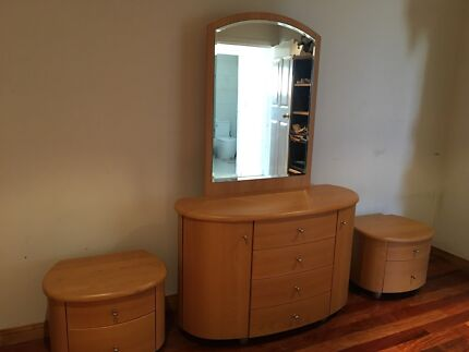 Wooden mirror with drawers and bedside tables