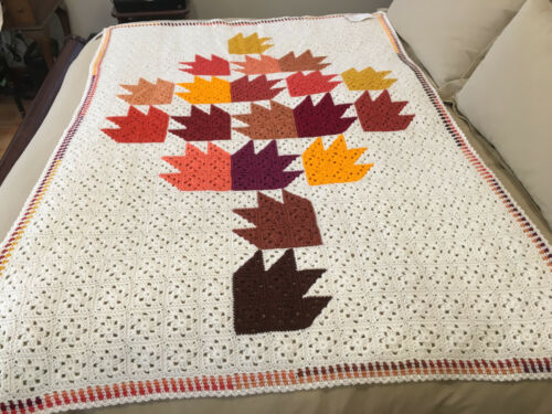 Handmade Afghan / Throw Blanket - From Designer Collection - Autumn Tree