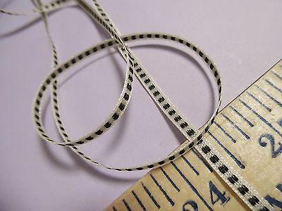 Micro Ribbon Trim 1 8  Center Stitch Black Cream Doll Trim Crafts 3 Yards