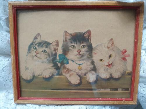 Adorable vintage print of 3 kittens