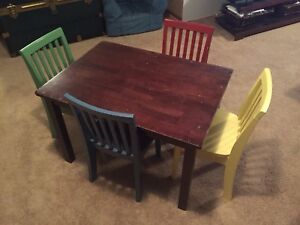 Kids play table and 4 chairs.  By Pottery Barn Kids