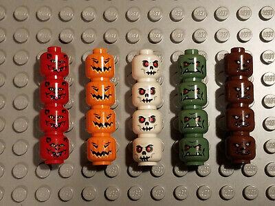 NEW LEGO 20x Minifig Head skull alien devil jack o lantern werewolf