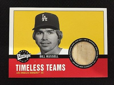 "BILL RUSSELL ""GAME USED BAT DODGERS VINTAGE UPPER DECK 2001 INSERT BASEBALL CARD"