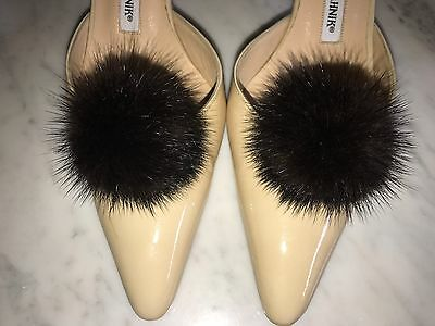 "Mink Fur Shoe Clips Black/Brown Pom Pom 3"" Diameter Shoe Accessories"