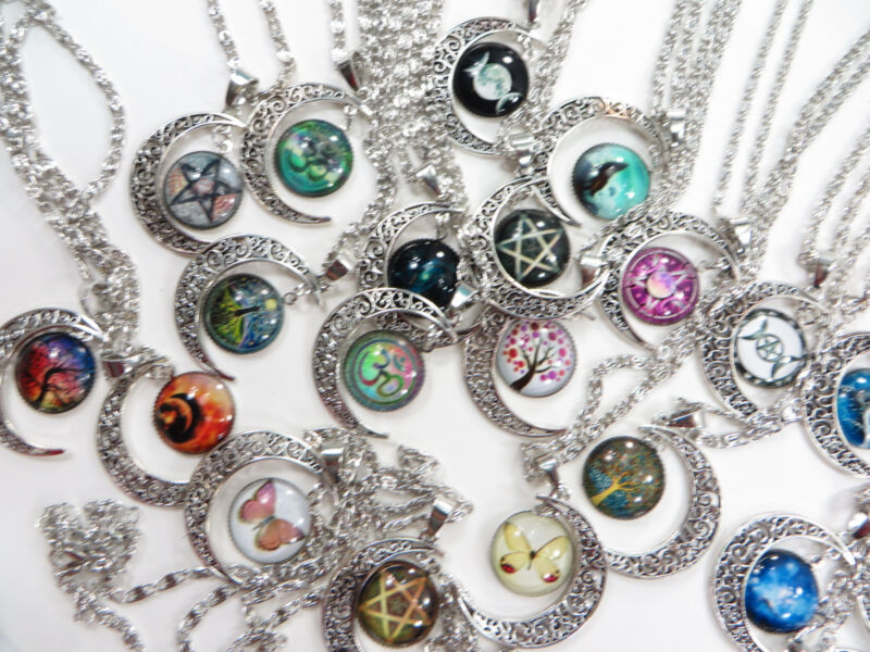 30 pieces wholesale cabochon moon necklaces jewelry bulk cheap jewelry
