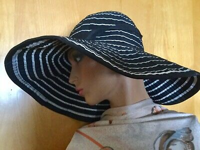 Kooringal Wide Brim Summer Hat One Size Packable Black White Stripe           (Black Summer Hat)
