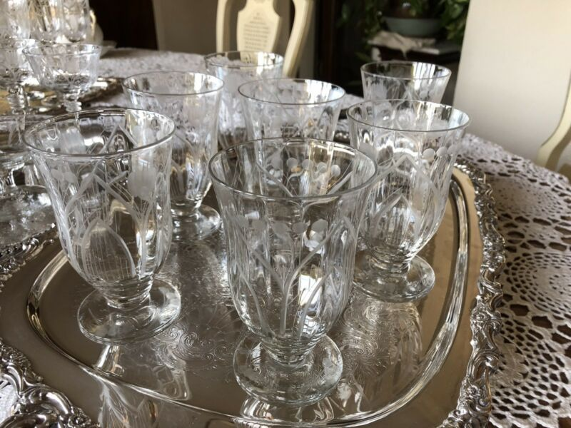MOSQUE ROSE Set of 7 Antique Footed -Etched/cut Crystal 10 oz. Water Goblets