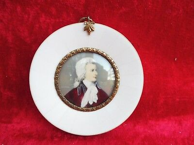 Beautiful, old Miniature__Wolfgang Amadeus Mozart__Magnifying Glass Painting __