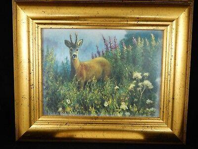 - 1988 Norwegian Jan Petter Bratsberg Framed Art Ceramic Tile Deer