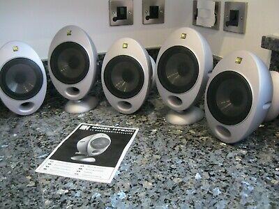 KEF HTS2001- 5x AV Surround/Satellite Speakers With Wall Brackets & Instructions