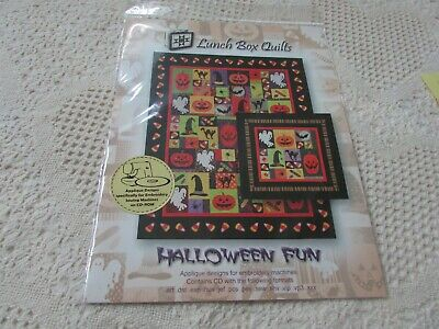 NEW/SEALED LUNCH BOX QUILTS HALLOWEEN FUN Applique designs IN THE HOOP SO