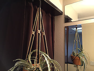 MACRAME PLANT HANGER  Black and Sand ...